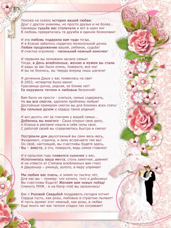 Поздравление молодым от родителей невесты своими словами