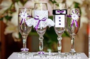 Особенности украшений свадебных бокалов